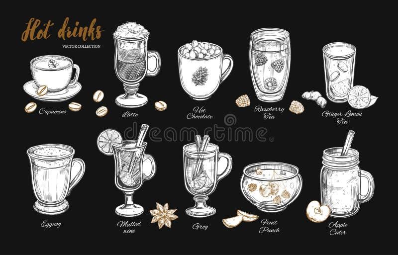 Bebidas calientes Vector ilustración del vector