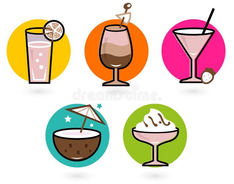 Bebidas coloridas retras del verano stock de ilustración