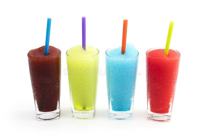 Bebidas congeladas de Granita da lama do fruto isoladas no fundo branco, trajeto de grampeamento incluído foto de stock