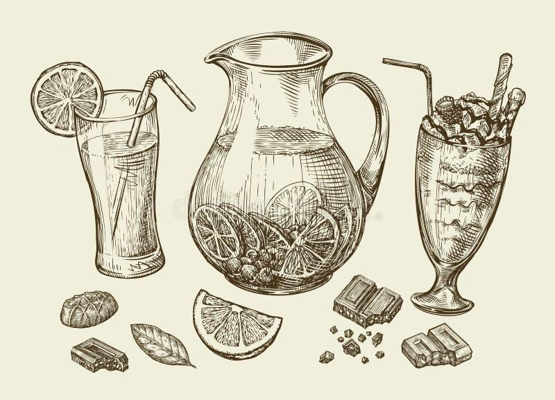 bebidas Dé el cóctel exhausto, smoothie, jarra de limonada, batidos de leche, zumo de fruta, chocolate, postre, bebida ilustración del vector