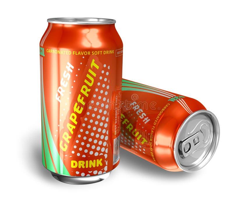Bebidas da soda da pamplumossa em umas latas do metal ilustração do vetor
