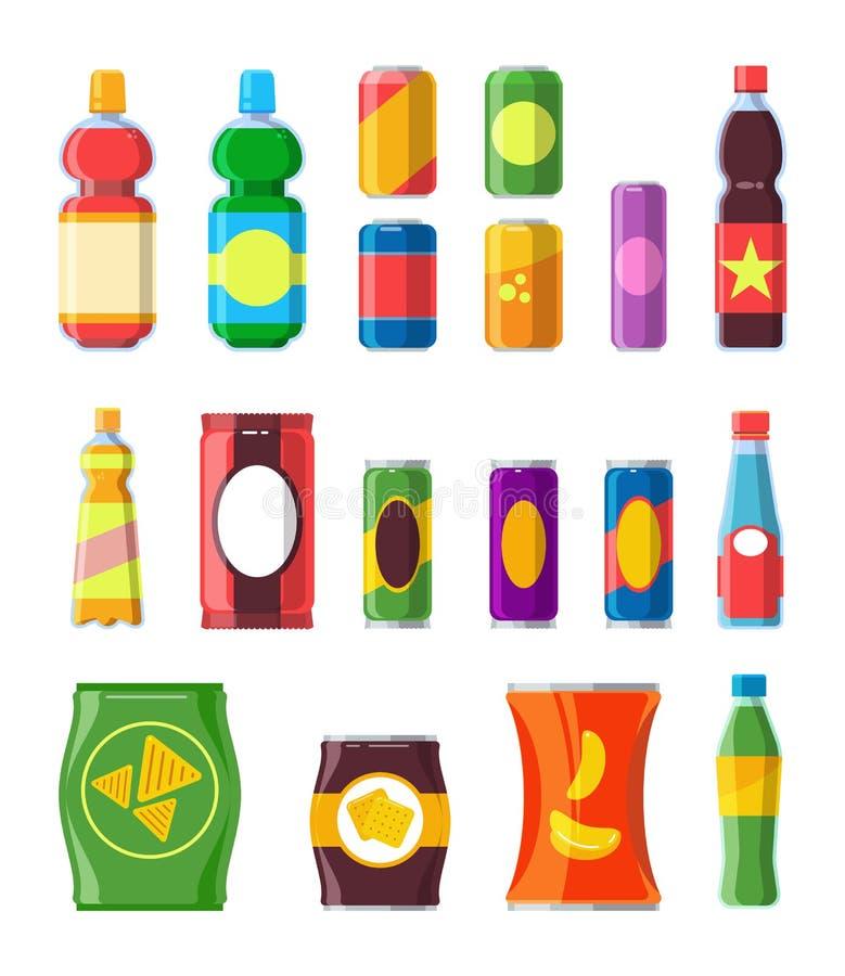 Bebidas de los bocados fijadas Mercancía plástica de la soda del envase de la barra de agua de la galleta del producto del chocol stock de ilustración