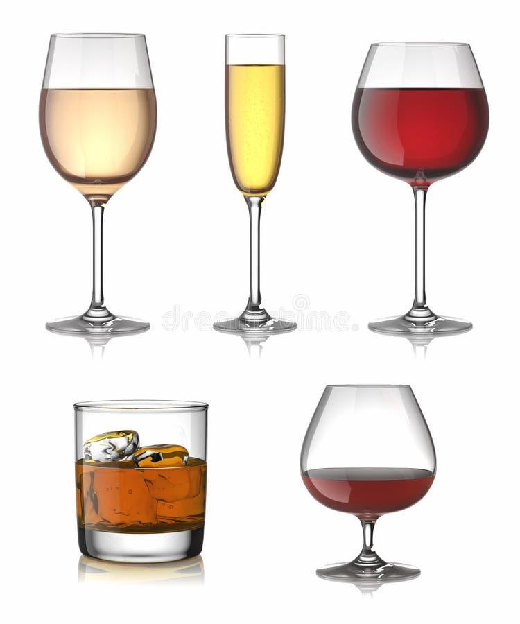 Bebidas del alcohol fijadas ilustración del vector