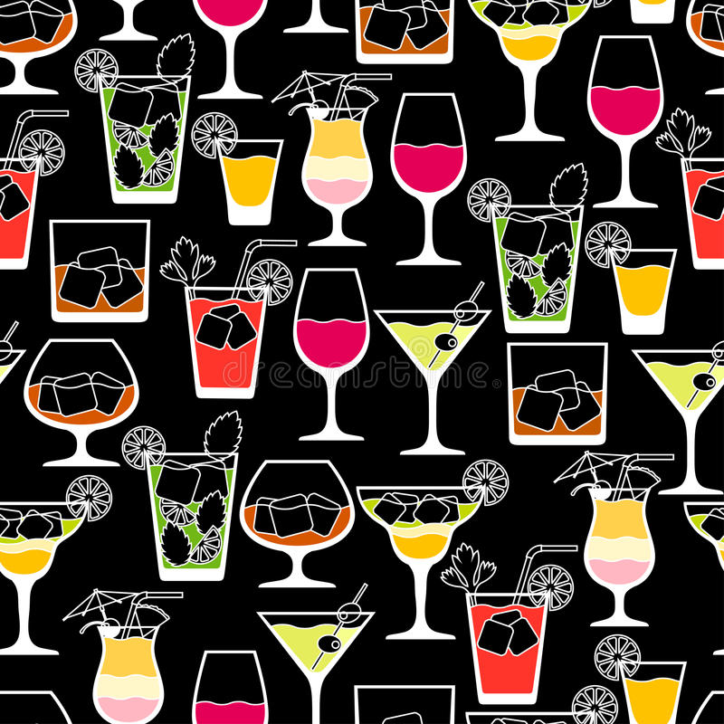 Bebidas del alcohol y modelo inconsútil de los cócteles adentro stock de ilustración