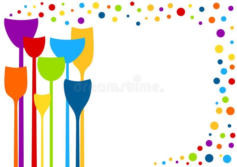 Bebidas del partido con la tarjeta de la invitación de las burbujas ilustración del vector