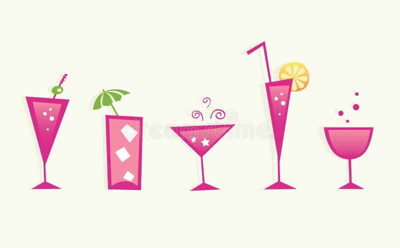 Bebidas del verano y vidrios de coctel calientes - VECTOR stock de ilustración