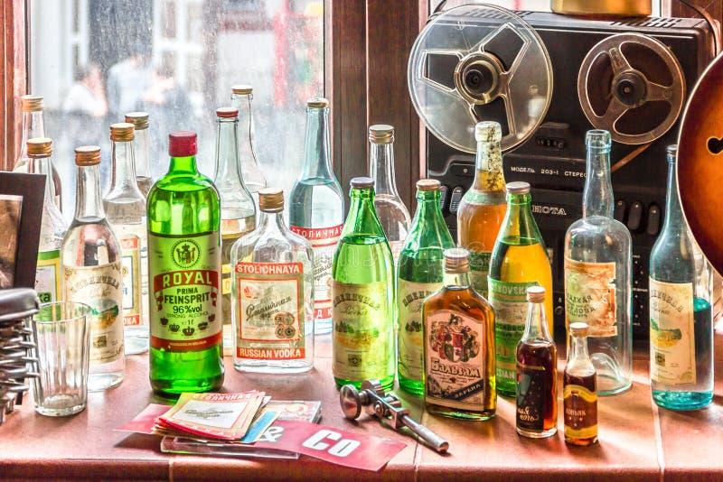 Bebidas do álcool de URSS do vintage imagem de stock royalty free