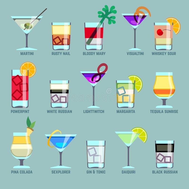 Bebidas do álcool e ícones lisos do vetor dos cocktail ilustração do vetor