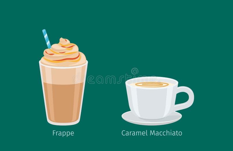 Bebidas do café em vetores do copo do vidro e da porcelana ilustração royalty free
