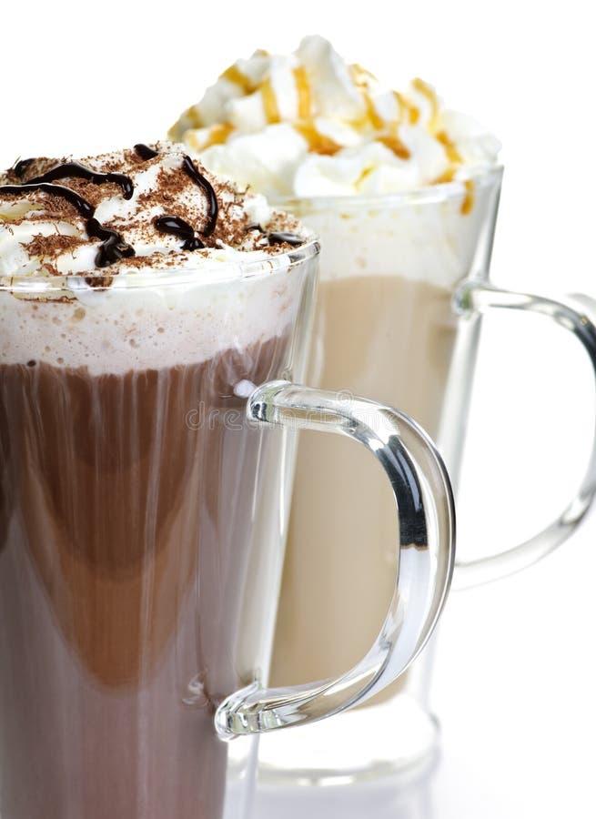 Bebidas do chocolate quente e do café fotos de stock royalty free