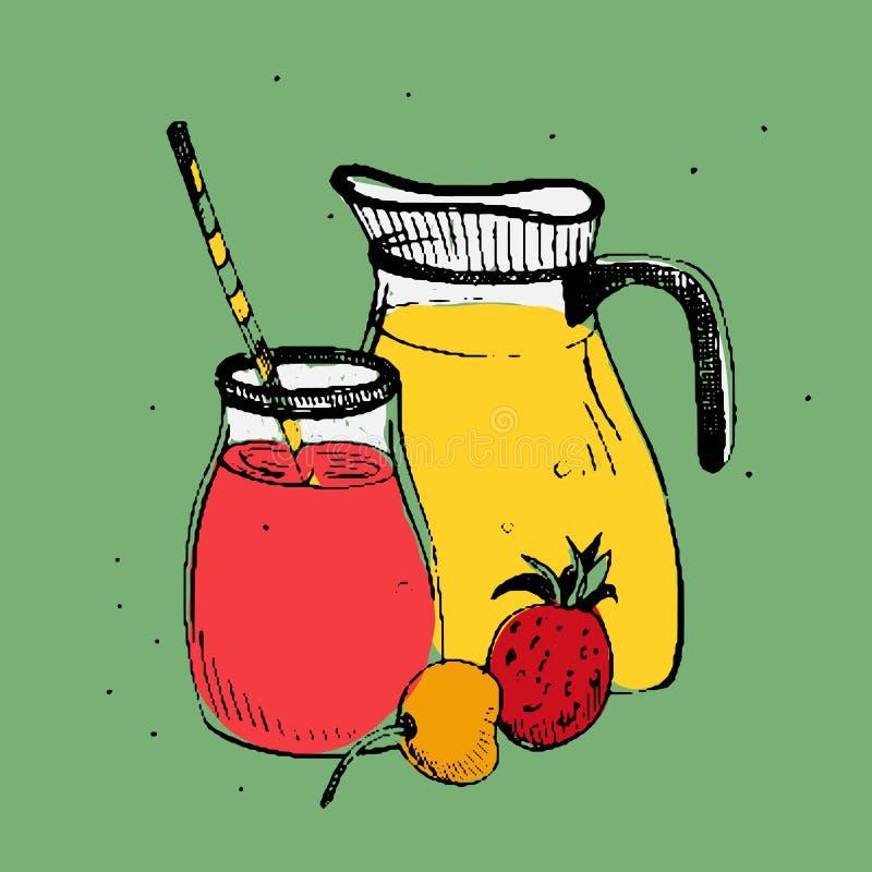 Bebidas do frio com frutos e bagas Frasco e vidro com batido fresco Ilustração quadrada colorida do vetor no verde ilustração do vetor