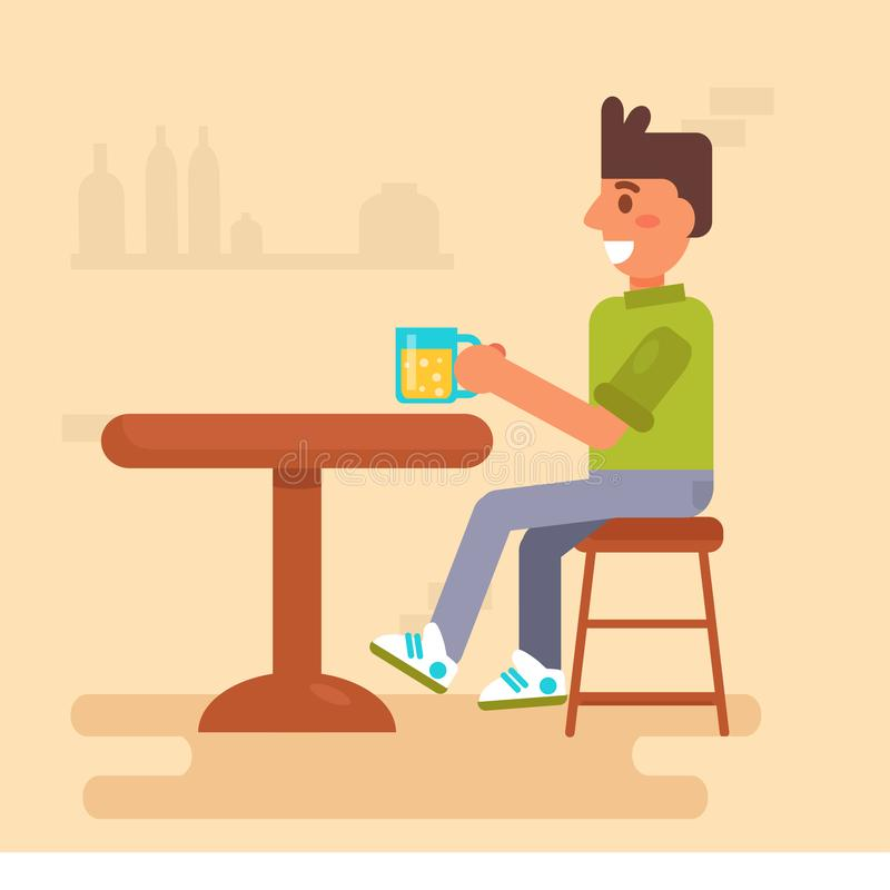 Bebidas do homem em um vetor da barra cartoon Arte isolada no fundo branco ilustração do vetor