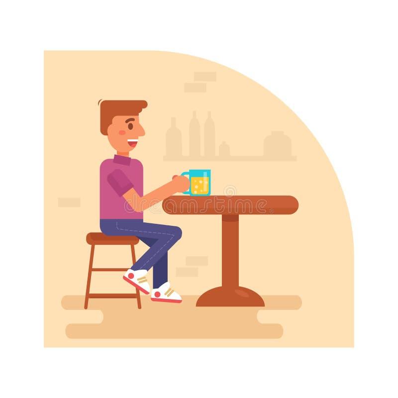 Bebidas do homem em um vetor da barra cartoon Arte isolada no fundo branco ilustração stock