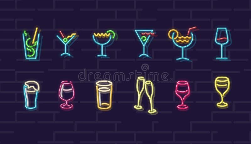 Bebidas do néon Cocktail, vinho, cerveja, champanhe Sinal iluminado noite de Wall Street Bebidas frias do álcool na noite escura ilustração royalty free