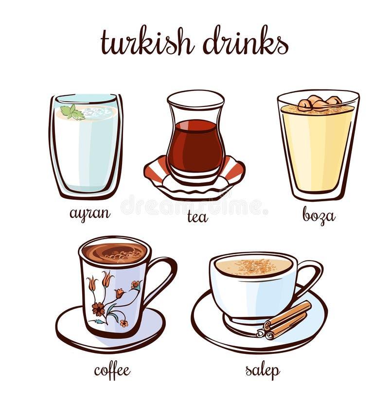 Bebidas do turco do vetor ajustadas ilustração royalty free