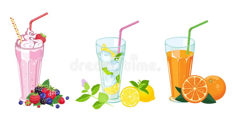 bebidas do ver?o ajustadas Agitação de leite, suco fresco e mojito no vidro ilustração royalty free