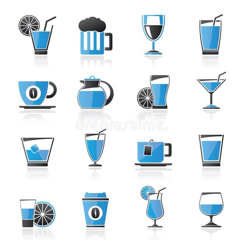 Bebidas e ícones das bebidas ilustração do vetor