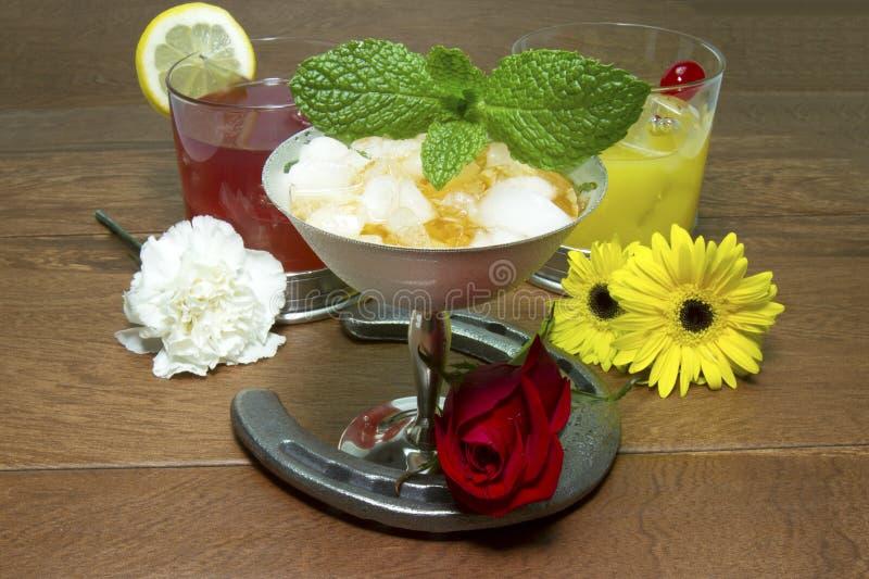 Bebidas e flores do Triple Crown com ferradura imagens de stock