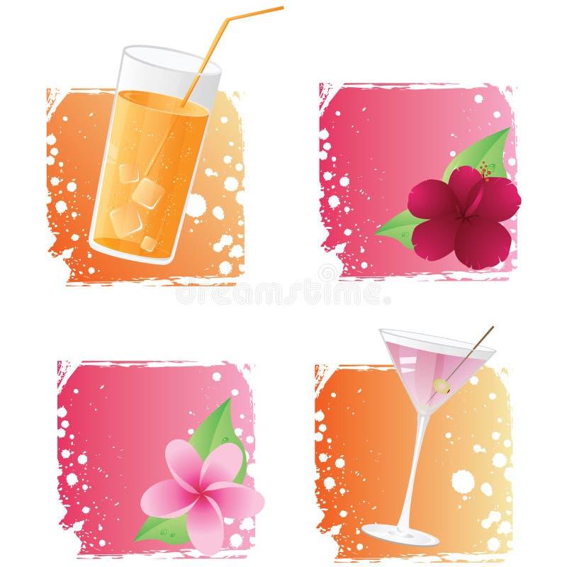 Bebidas e flores em fundos do grunge ilustração stock
