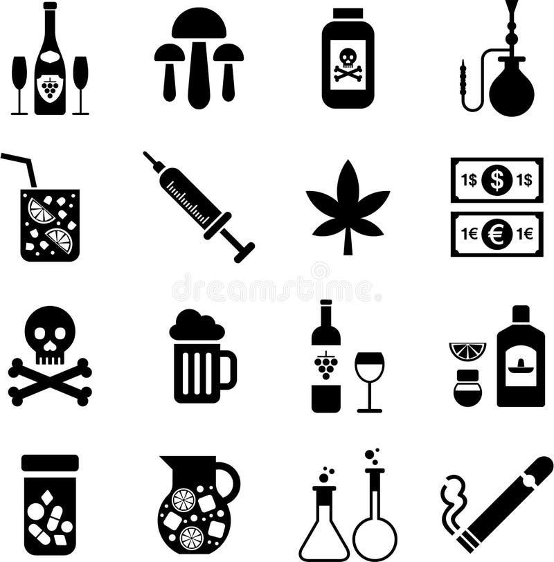 Bebidas e iconos de las drogas stock de ilustración