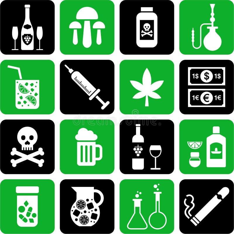 Bebidas e iconos de las drogas ilustración del vector