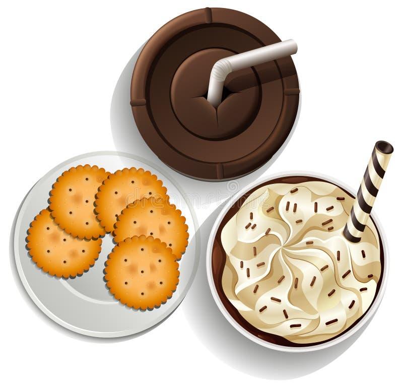 Bebidas em uns copos descartáveis e em uma placa com biscoitos ilustração stock
