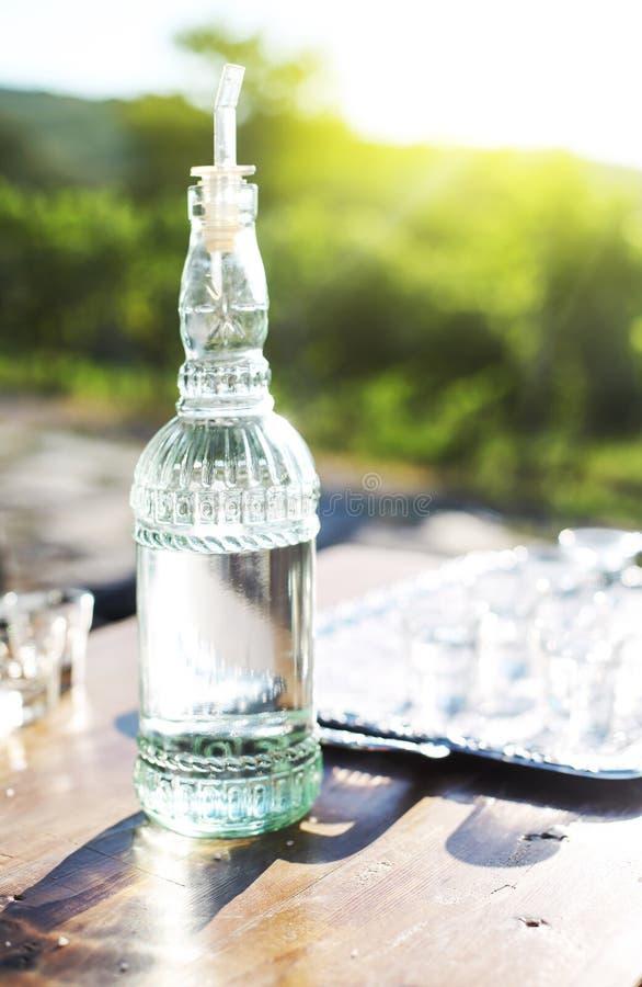 Bebidas espirituosas botella y vidrios de las uvas en la bandeja del metal fotografía de archivo libre de regalías