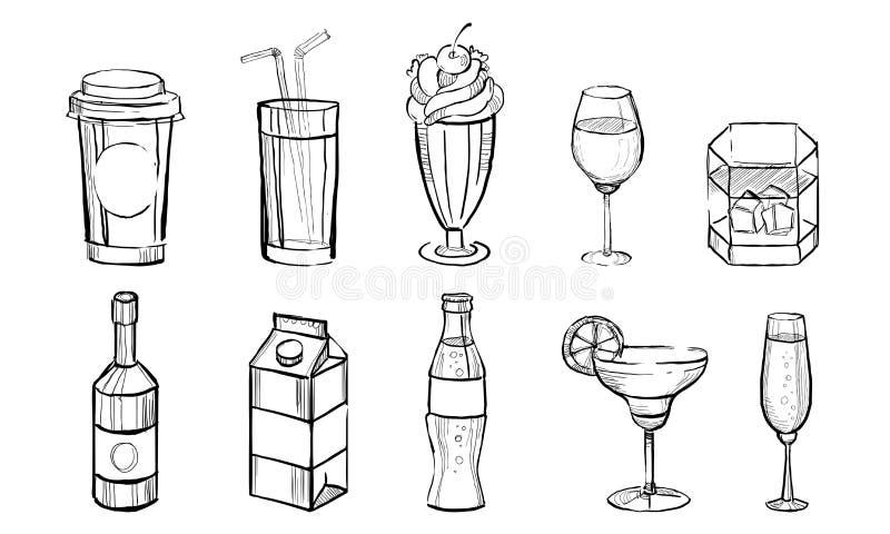 Bebidas exhaustas sistema de la mano, alcohólico y bebidas no alcohólicas, café, jugo, cócteles, soda, vector de Monocrome de la  ilustración del vector