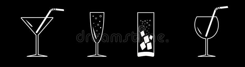 Bebidas, línea del sistema del cóctel Conjunto blanco del icono Fondo negro Aislado Diseño plano libre illustration