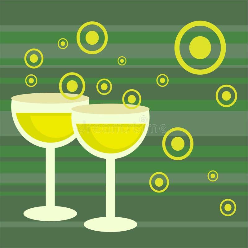 Bebidas retras cobardes stock de ilustración