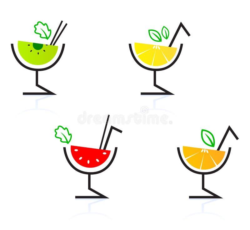Bebidas retras/coctel de la fruta mezclada colorida. stock de ilustración