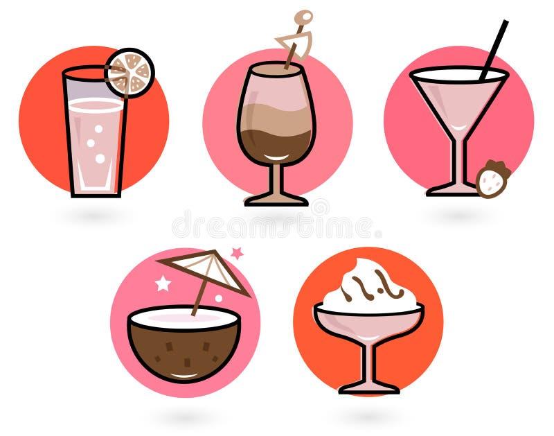 Bebidas retras fijadas stock de ilustración