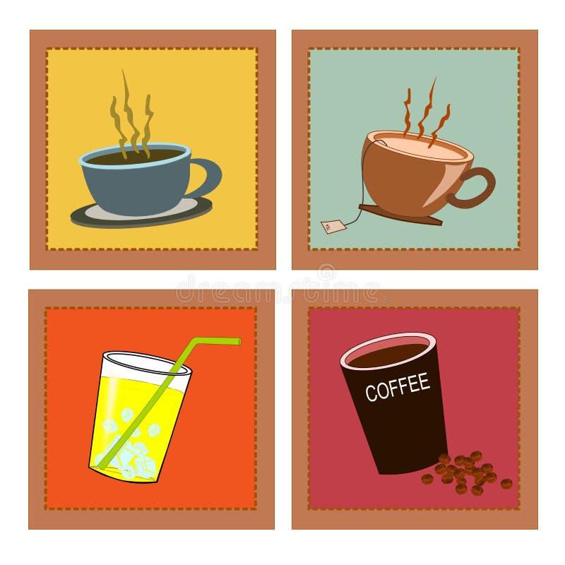 Bebidas retras fijadas ilustración del vector