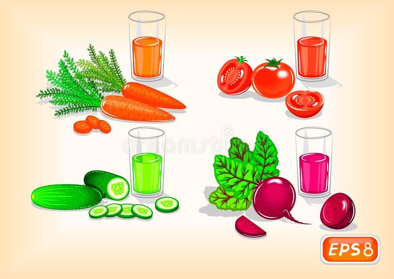 Bebidas sanas con las verduras sabrosas ilustración del vector