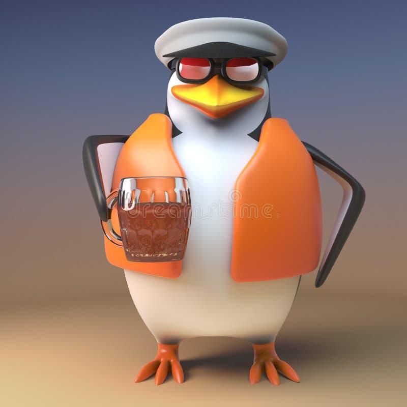 Bebidas sedentos do pinguim do capitão do marinheiro heartily de sua pinta da cerveja inglesa, ilustração 3d ilustração stock