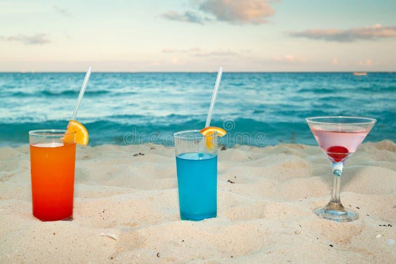 Bebidas tropicais na praia fotos de stock royalty free