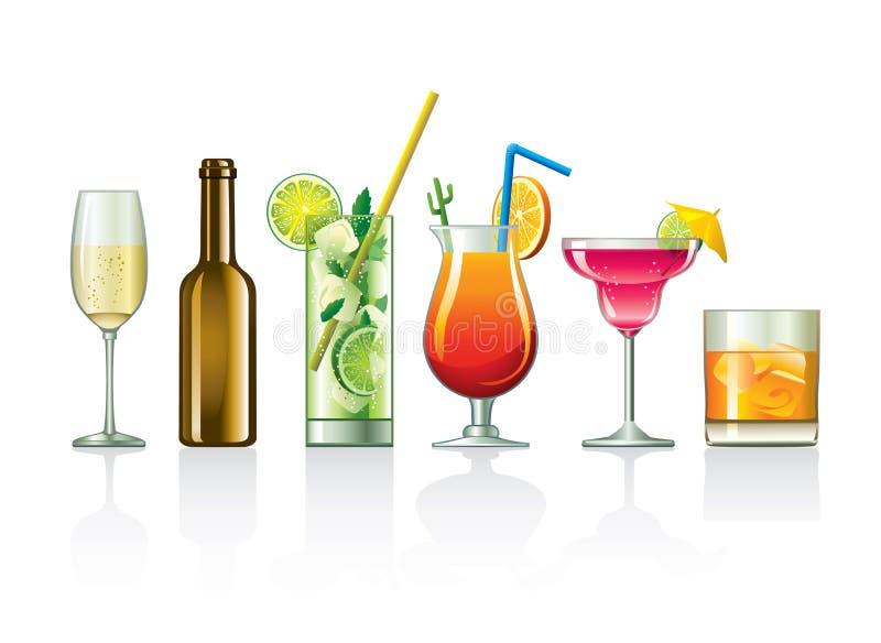 Bebidas y cócteles stock de ilustración