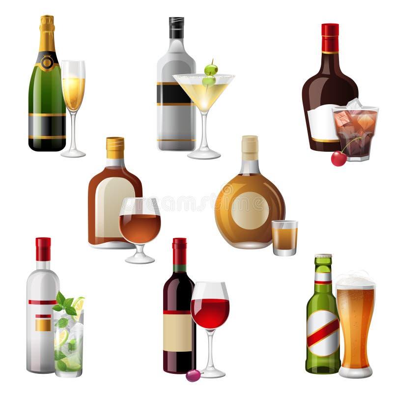 Bebidas y cócteles del alcohol stock de ilustración