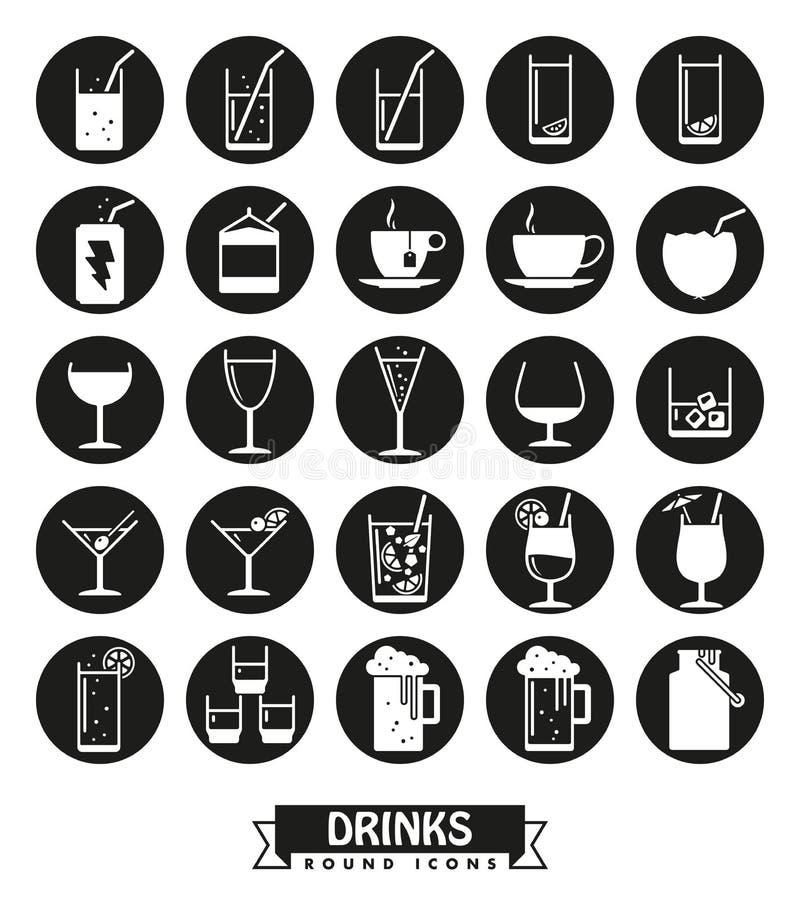 Bebidas y sistema redondo del vector de los iconos de las bebidas libre illustration