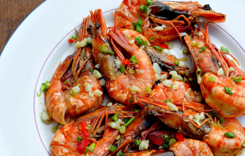 Beboterd Knoflook Hipon (Fried Shrimps) royalty-vrije stock foto