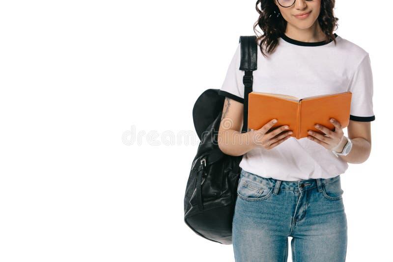 bebouwd beeld van Afrikaans Amerikaans de lezingsboek van de tienerstudent royalty-vrije stock afbeelding