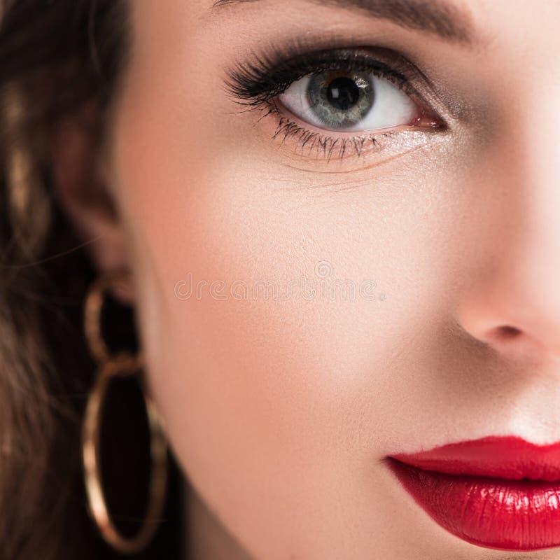 bebouwd beeld van mooi meisje met make-up royalty-vrije stock afbeelding