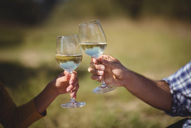 Bebouwd beeld van paar roosterende wijnglazen stock fotografie