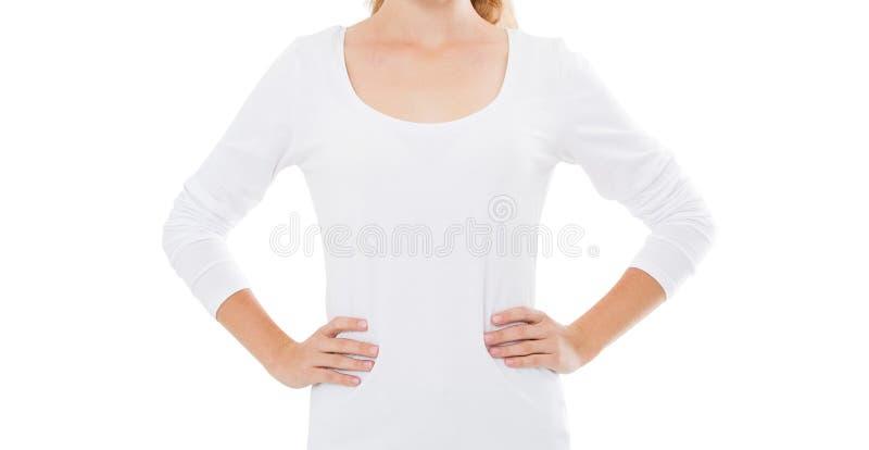 Bebouwd beeld van witte t-shirtspot omhoog op witte achtergrond royalty-vrije stock fotografie