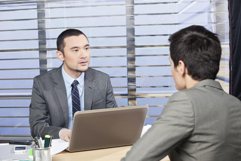 became hysterical interview job one them στοκ εικόνα