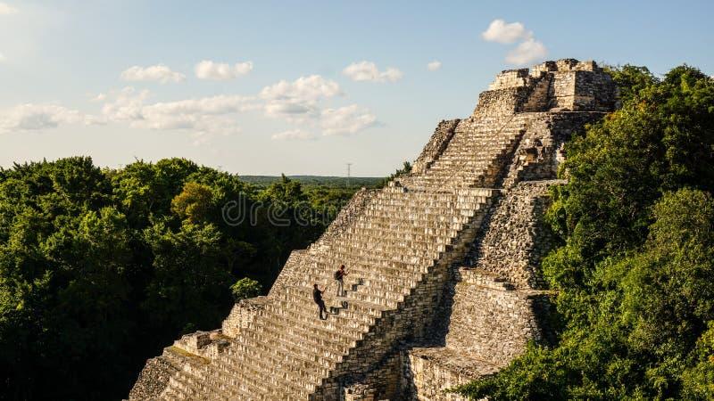 Becan玛雅人寺庙在尤加坦,墨西哥 免版税库存照片