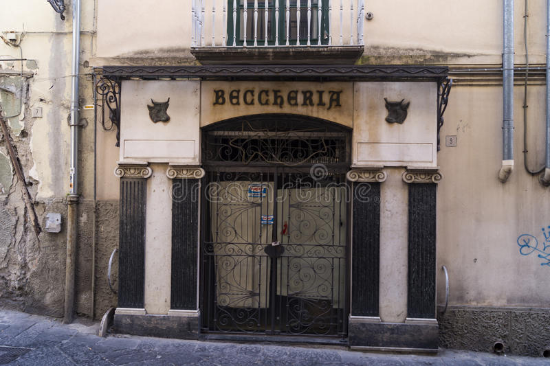 Beccheria. An ancient teachings of an old shop, butchery in Salerno stock photos