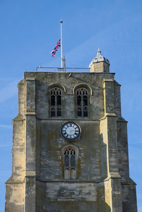 BECCLES, SUFFOLK/UK - 23 DE MAYO: Iglesia parroquial Bell T del ` s de San Miguel imagen de archivo libre de regalías