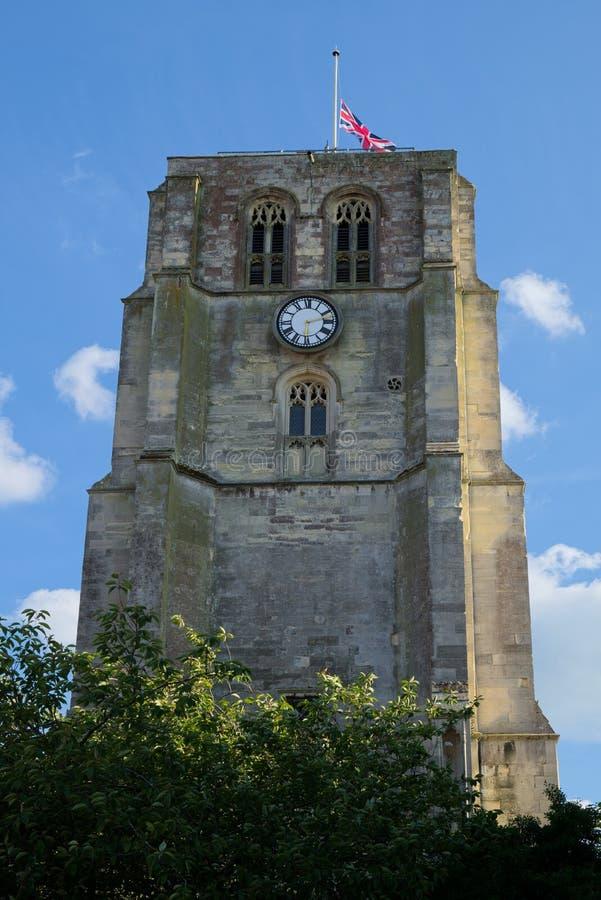 BECCLES SUFFOLK/UK - MAJ 23: Församling kyrkliga Klocka T för St Michael ` s royaltyfria bilder