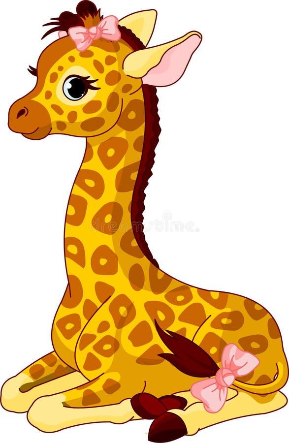Becerro de la jirafa con el arqueamiento ilustración del vector
